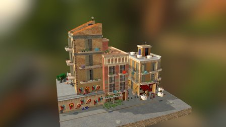 Barcelona City Scene 3D Model