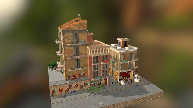 Barcelona City Scene 3D Model