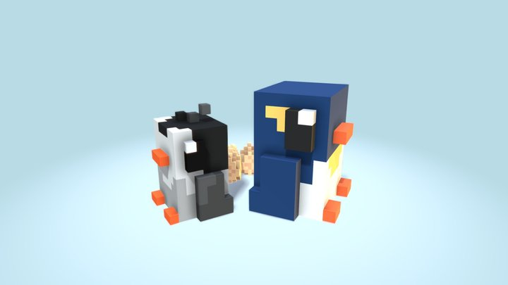 Penguin Cycle [Voxel] 3D Model