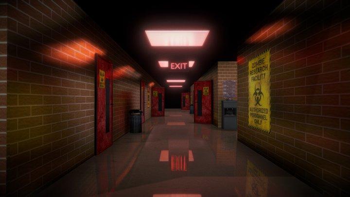 Apocalyptic Hospital Hallway Interior 3D Model
