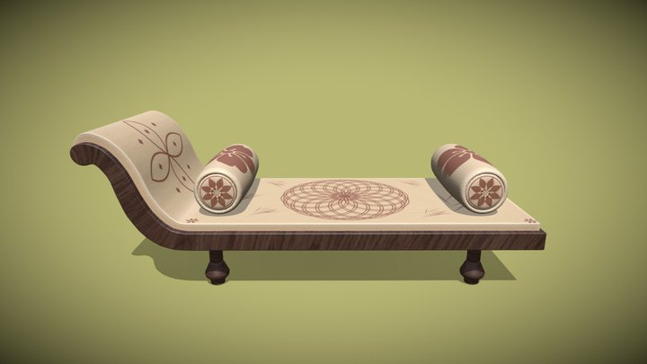 Diwan Cot with Cushion 3D Model