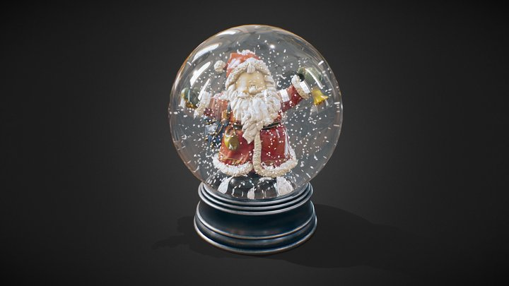 Santa Claus Glass Ball 3D Model