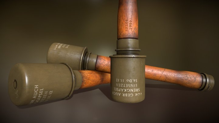 WWII German M24 Stick Grenade Lowpoly Game Asset 3D Model