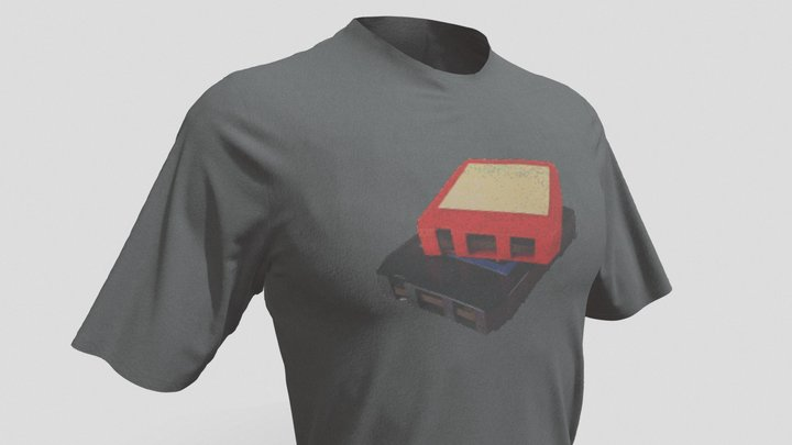Retro T-Shirt Design - 8 Track Cassette 3D Model