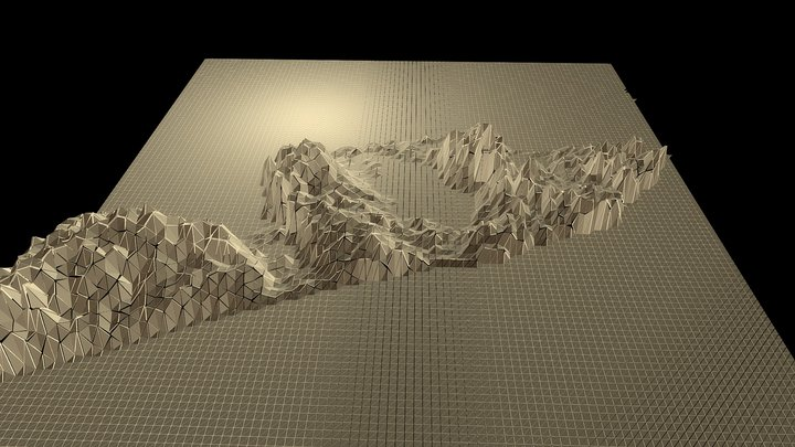 Amped Topography of Montauk in Gold 3D Model