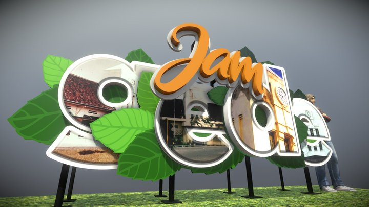 Huruf Timbul Jam Gede 3D Model