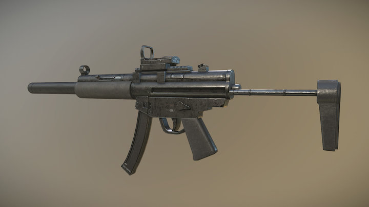 Custom MP5 submachinegun 3D Model