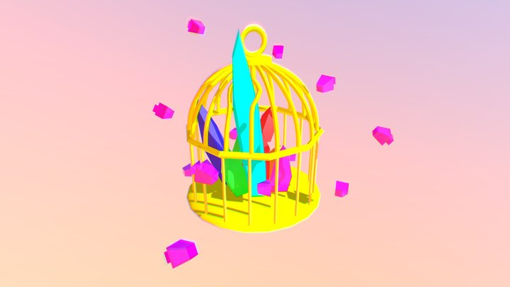 Low Poly Bird Cage and Diamonds 3D Model
