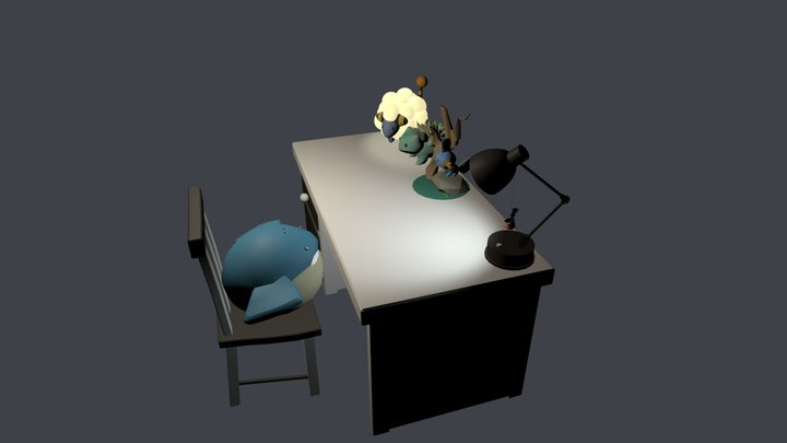 Desk with Pokemon 3D Model