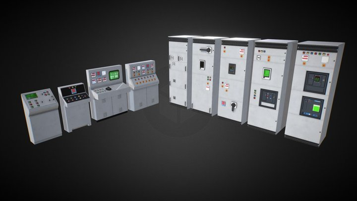 Stylized Control Panels 3D Model