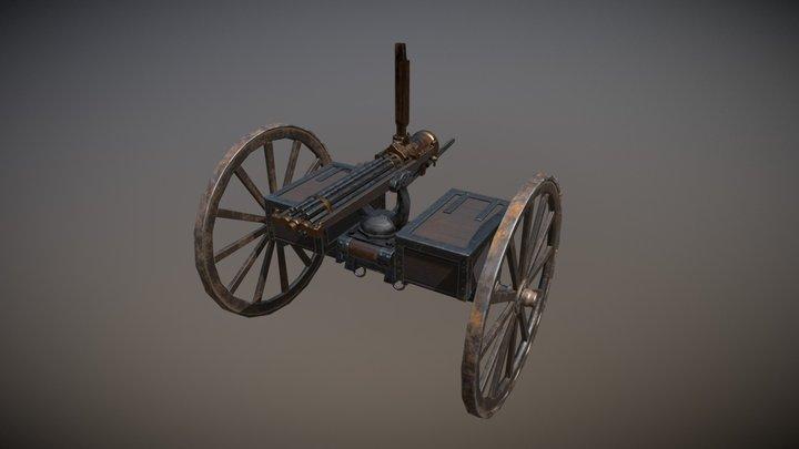 Gatling Gun - Model 1897 Game ready 3D Model