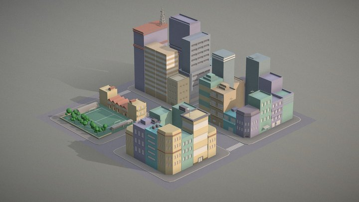 Lowpoly pack of 4 city blocks 3D Model