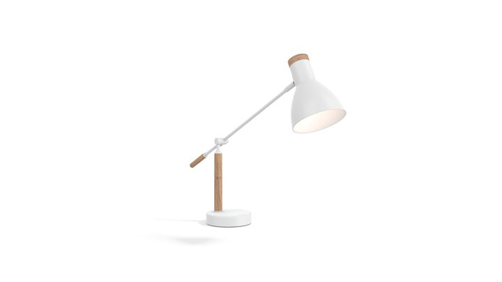 Cohen Table Lamp, White And Natural Oak 3D Model