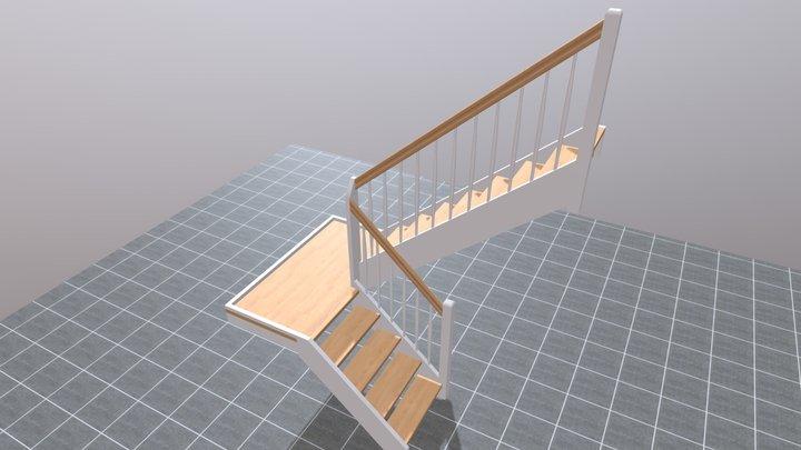 Standard Halvsvingstrappe m/repos 3D Model
