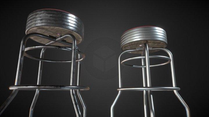 Vintage stool - old&clean 3D Model
