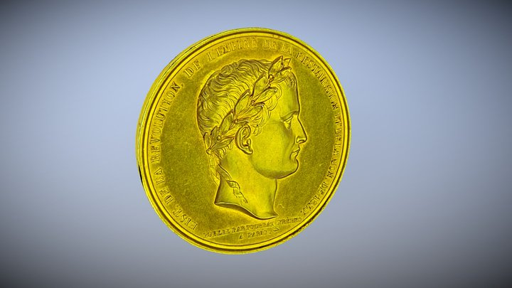 Antique Gold Coin 3D Model