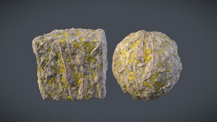 Rocks With Moss. 3D Model