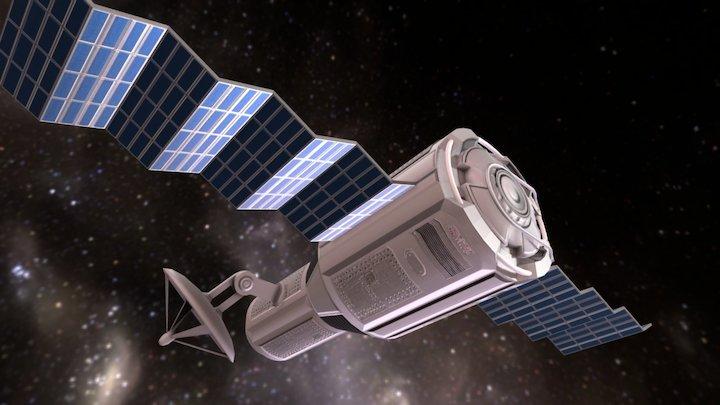 Game-Ready Satellite Module 3D Model