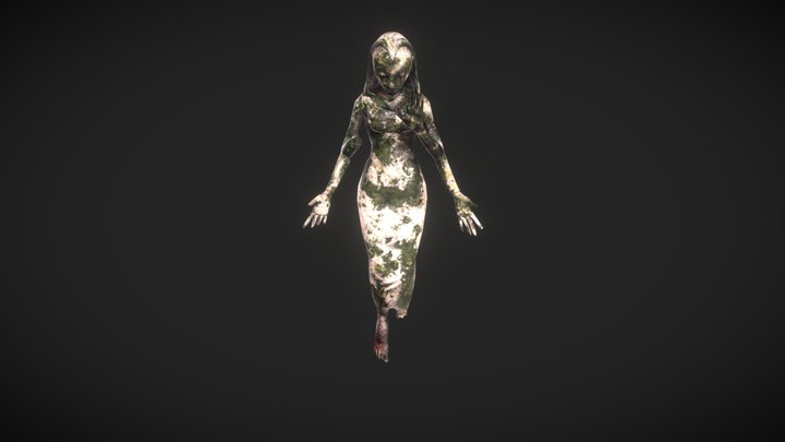 Shattered Crying Godess Statue 3D Model