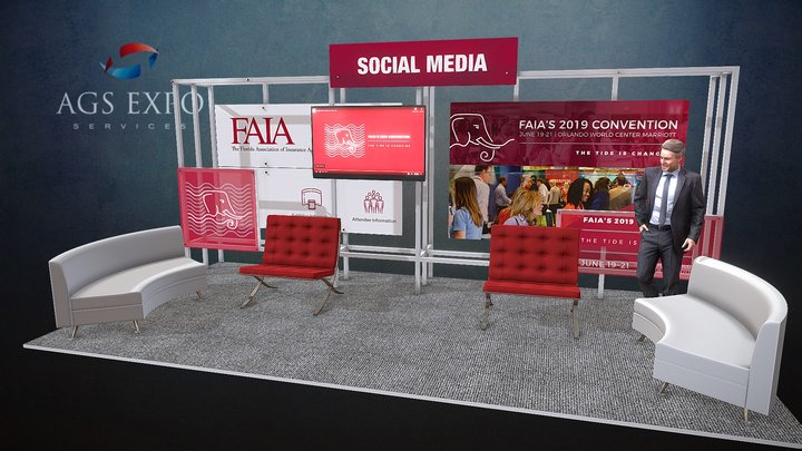 FAIA 2019 - SOCIAL MEDIA LOUNGE 3D Model
