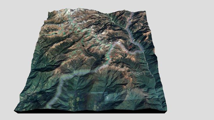 Doklam 3D Terrain Model - Satellite. 3D Model