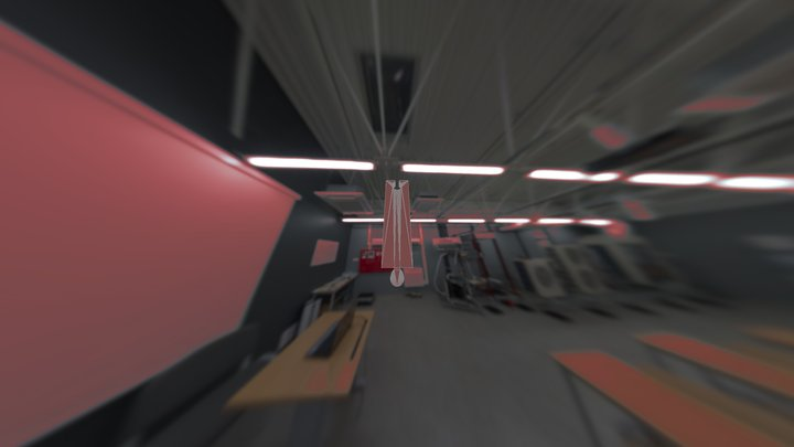 Straight track with train 3D Model