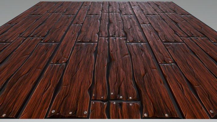 Tileable Stylized Wooden Floor Texture 3D Model