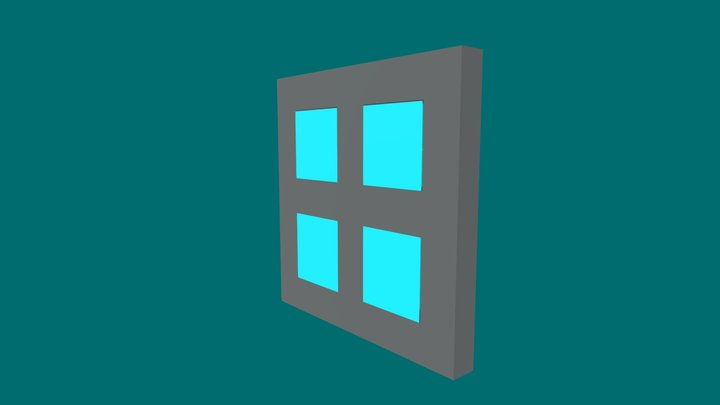 Transparent Square Window 3D Model