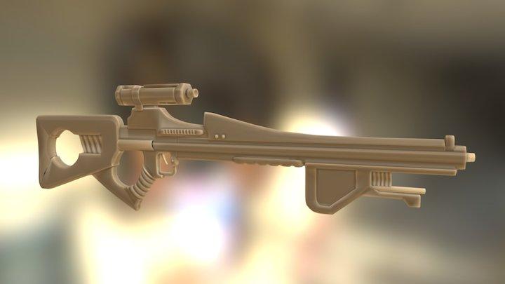 Sci-fi firearm white 3D Model