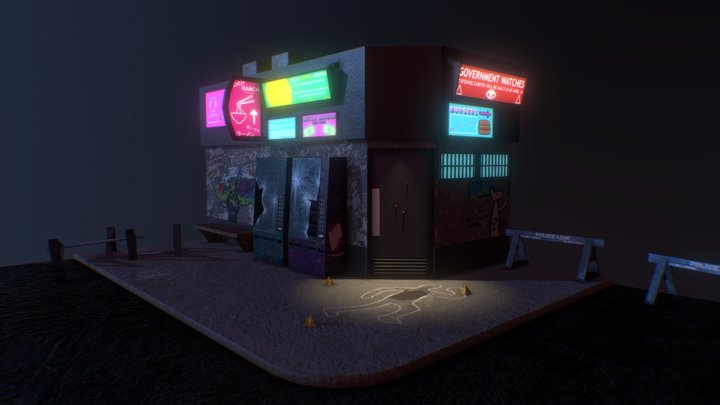 Cyberpunk crime scene 3D Model