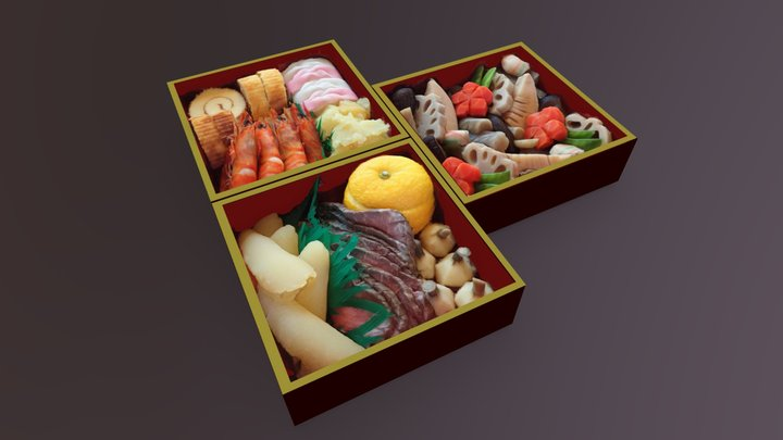 Osechi-Ryori (Japanese traditional dishes) 3D Model