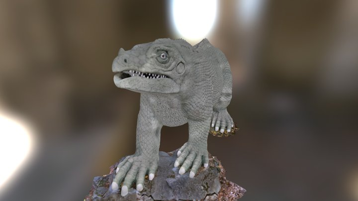 Standing Iguanodon - Crystal Palace Park 3D Model