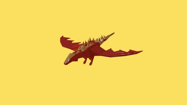 Low Poly Flying Dragon 3D Model