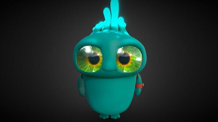 Kid Alien Going to School 3D Model