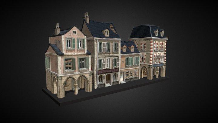 3 Buildings - WW2 Carentan Inspired 3D Model