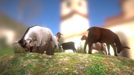 Lowpoly goats 3D Model