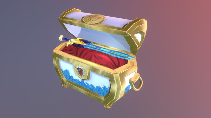 Hand-painted Treasure Chest 3D Model