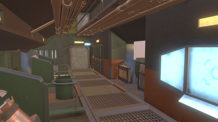 Sci-Fi Hall: Textured 3D Model