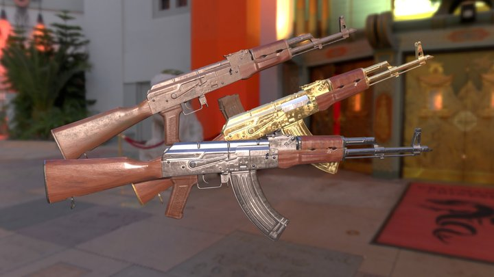 AK47 With Variants 3D Model