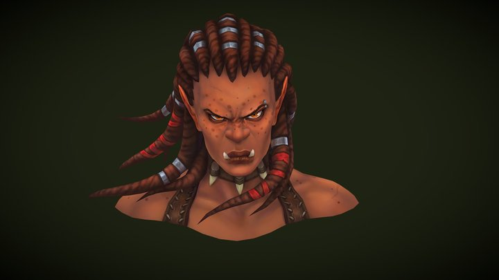 Handpainted Orc Bust 3D Model