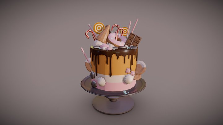 Candy-covered cake draft 3D Model