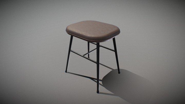 Spine metal base stool-leather 3D Model