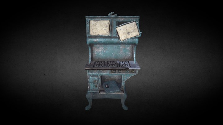 Old stove game asset 3D Model