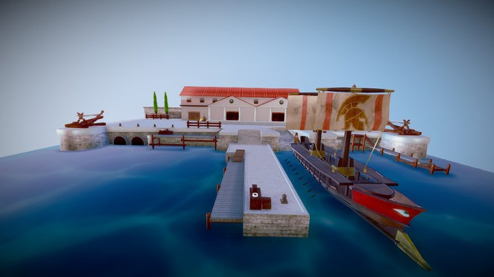 Ancient Greek Harbor 3D Model