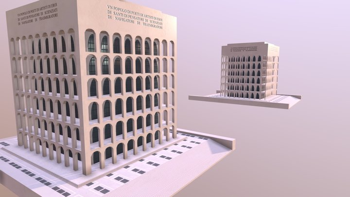 Palazzo della Civiltà Italiana High and Low 3D Model