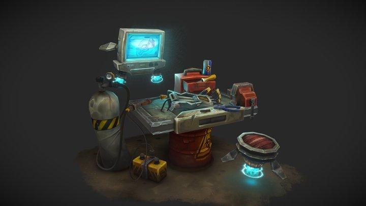 Junkyard Battle Bot Work Bench - CGMA Assignment 3D Model