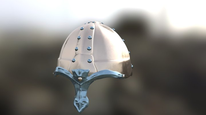 Medieval Helmet Textured 3D Model