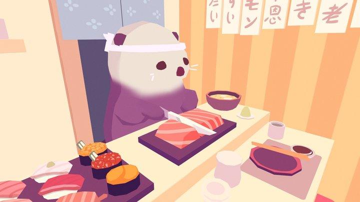 Sushi Chef Sea Otter 3D Model