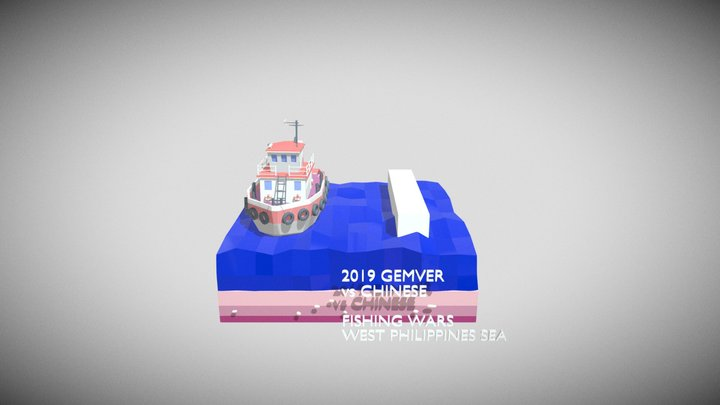 Lowpoly scene sinking of Gemver by Chinese 3D Model
