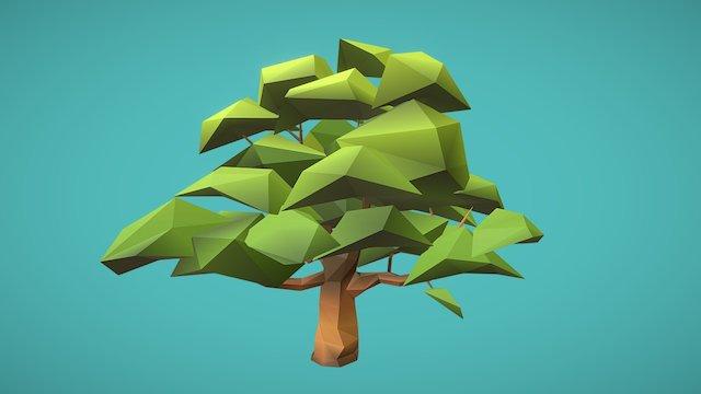 Lowpoly test-Oak Tree 3D Model